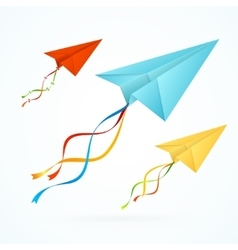 Paper Airplain Colorful Set vector image