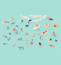 people in sea or ocean performing various vector image