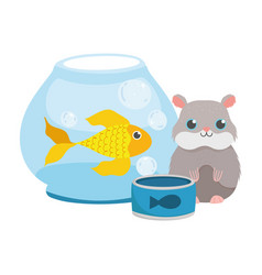 pet shop hamster fish in bowl and food animal vector image