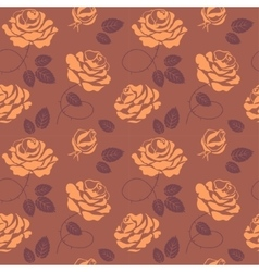 Roses seamless pattern in brown colors vector image