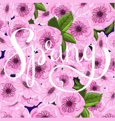 sakura ink lettering spring vector image