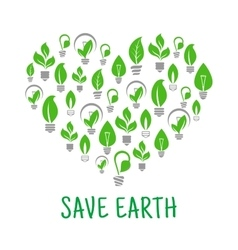 Save Earth Green leaf energy poster vector image