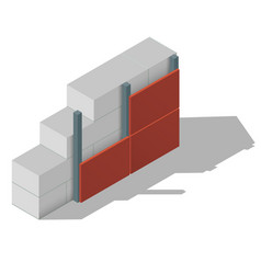 Scheme of a aerated concrete wall vector