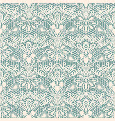 seamless detailed lace pattern on blue background vector image