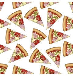Seamless pattern color pizza with bacon vector image vector image