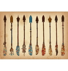 Set of 10 colored ink traditional indian arrow vector image
