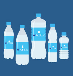 set of five water bottles vector image
