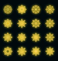 ship wheel icons set neon vector image