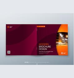 Square brochure design red orange corporate vector
