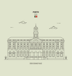 Stock exchange palace in porto portugal vector