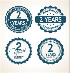 two years warranty retro vintage badge and labels vector image