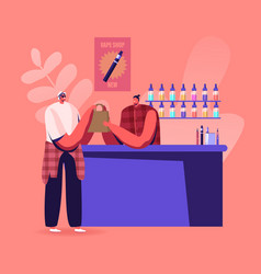 Vape shop business urban hipster in store selling vector