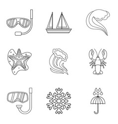 Water joke icons set outline style vector