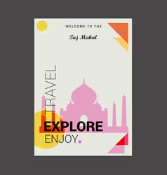 welcome to the taj mahal agara india explore vector image