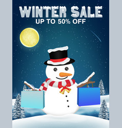 winter sale snowman shopping with paper bag vector image