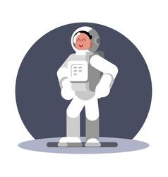 woman cosmonaut in helmet standing vector image
