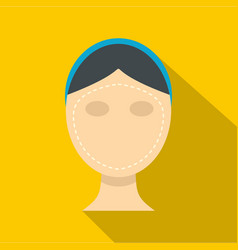 Woman face ready for cosmetic surgery icon vector