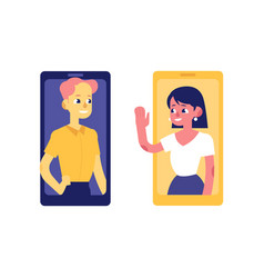 young woman and man from smartphone screens vector image