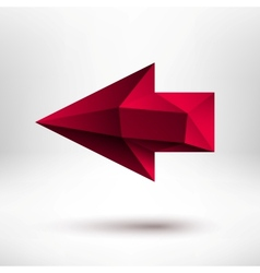 3d Red Left Arrow Sign with Light Background vector image