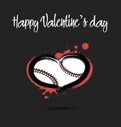 baseball ball shaped as a heart vector image
