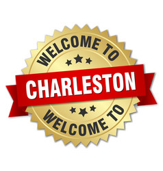 charleston 3d gold badge with red ribbon vector image vector image