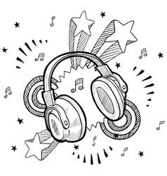 doodle pop headphones audio music vector image vector image