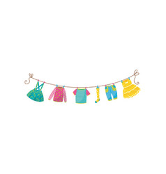 flat set of children s clothes on rope vector image