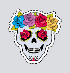 Human skull and flower wreath cut it out vector