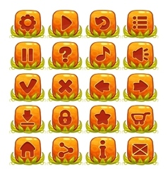 Set of orange buttons with web icons vector image vector image