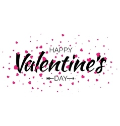 Valentines Day Lettering Card with Pink Hearts vector image vector image