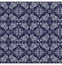White and blue luxury damask pattern vector image