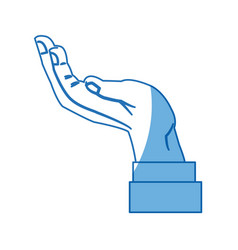 cartoon hand man business support symbol icon vector image