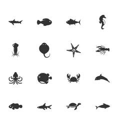 fish marine animals icons set vector image