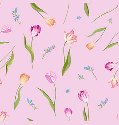 floral seamless pattern with watercolor tulips vector image vector image