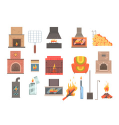 indoors and outdoors fireplaces and bonfires with vector image