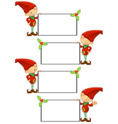 Red Elf Holding Blank Board vector image