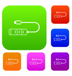 usb adapter connectors set collection vector image