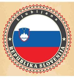 Vintage label cards of slovenia flag vector