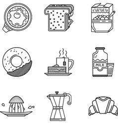 Breakfast black line icons collection vector image