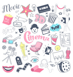 cinema tv hand drawn doodle with glasses vector image vector image