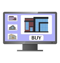 Computer monitor with realty selling web site vector image vector image