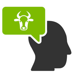 cow thinking person flat icon vector image vector image