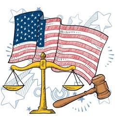 doodle americana justice vector image