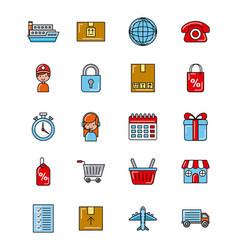 global logistic icons set cartoon vector image