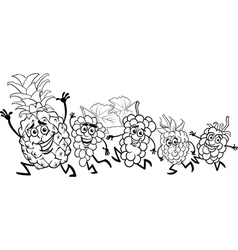 running fruits cartoon coloring page vector image vector image