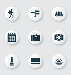 Traveling icons set with sundown landmark vector