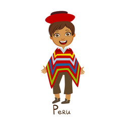 boy in peru country national clothes wearing vector image vector image