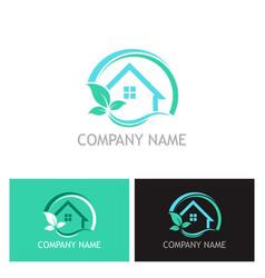 eco house plant logo vector image