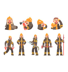 funny fireman at work using firefighting gear and vector image vector image
