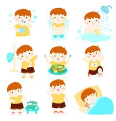 healthy hygiene for boy cartoon vector image vector image